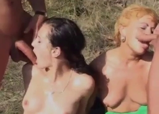 Sexy sister swallows my urine outdoors