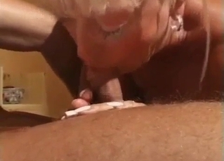 Golden blonde sister performs a blowjob