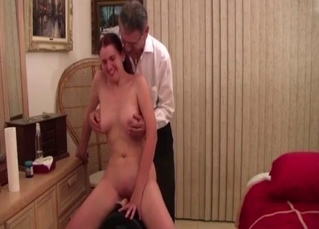 Daddy is touching his busty naked daughter