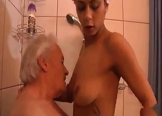 Filthy old man screws a stunning daughter