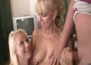 Blonde sister licks a pussy of auntie