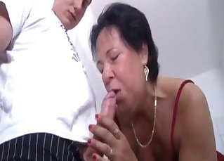Mom sucks her son with love and passion