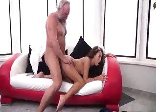 Daddy drills his flexy doll in cowgirl pose
