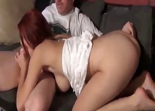 Redhead daughter sucks it with passion