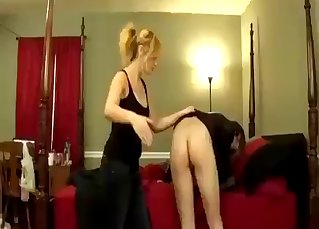 Blonde sister blows her bro on the knees