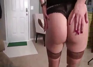 Slutty daughter shows striptease for dad