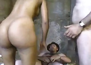 Sexy black niece fucked by white old men